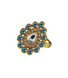 Brass Gold Platted  Blue Stone Studded  Ring With Adjustable