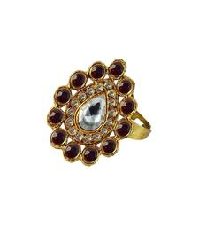 Buy Brass gold platted  Maroon stone studded  Ring with Adjustable Ring online