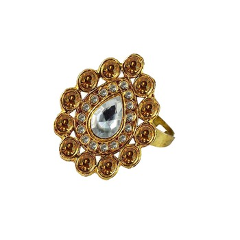 Brass Gold Platted  Golden Stone Studded  Ring With Adjustable