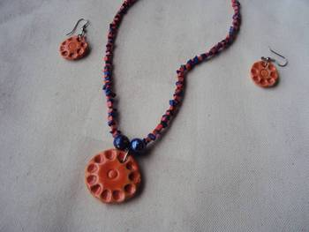Blue texture glazed ceramics jewellery