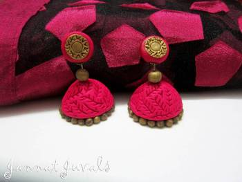 Magenta and Antique Gold Jhumka