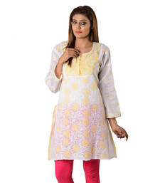 Buy White Embroidered Cotton Kurti kurtas-and-kurti online