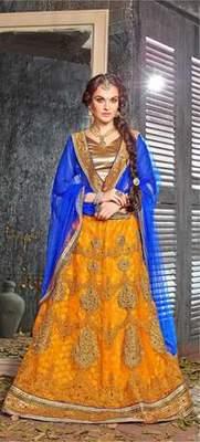 Yellow Embroidered Net Unstitched Lehnga Choli