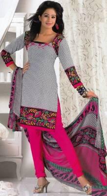 Crepe dress material elegant designer unstitched salwar suit d.no 8002