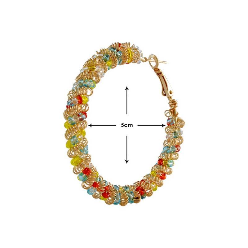 Kanjivaram Beads: Gold Multi-Colour Beads Hoop Earring For Women