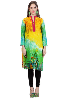 Yellow and Green Georgette Collar Neck Kurti