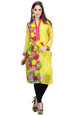 Yellow Georgette Full Sleeves Kurti