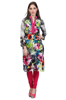 Grey Georgette Printed Full Sleeves Kurti
