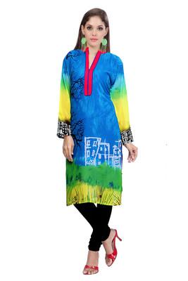 Blue Georgette Printed Kurti
