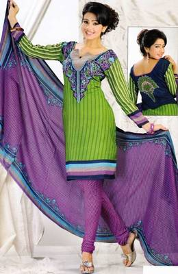 Crepe dress material elegant designer unstitched salwar suit d.no 8019