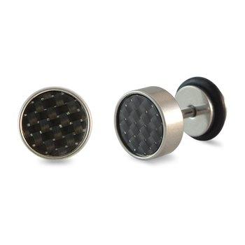 Black Textured Single Stud Earring for Men