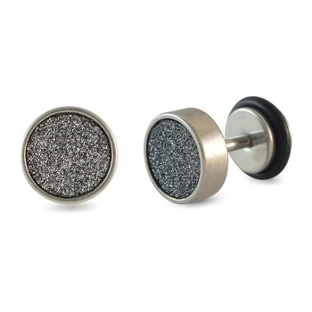 Black Glitter Silver Single Stud Earring for Men