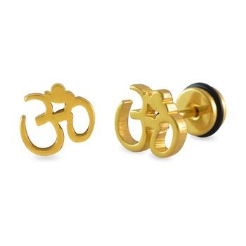 Om Gold Single Stud Earring for Men