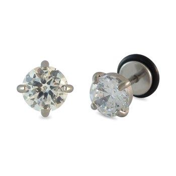 Faux Stone Silver Single Stud Earring for Men