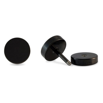 Round Black Single Stud Earring for Men