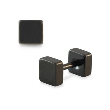Square Black Single Stud Earring for Men
