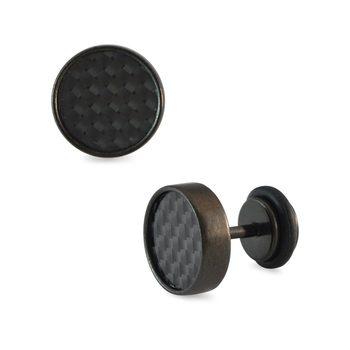 Textured Black Single Stud Earring for Men