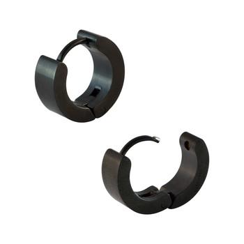 Plain Black Single Hoop Earring for Men (H: 13 mm, W: 5 mm)