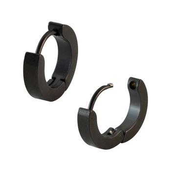Plain Black Single Hoop Earring for Men (H: 14 mm, W: 3 mm)