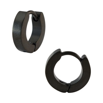 Plain Black Single Hoop Earring for Men (H: 10 mm, W: 2 mm)