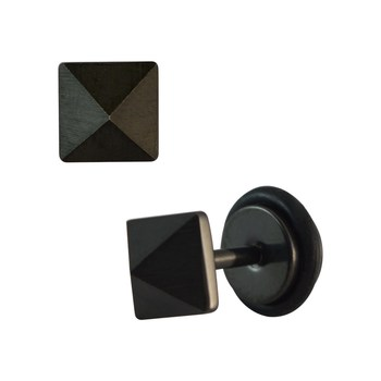 Square Black Single Stud Earring for Men