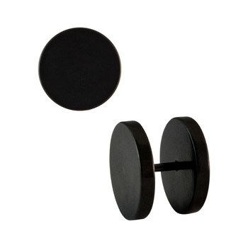 Plain Round Black Single Stud Earring for Men (H: 14 mm, W: 14 mm)