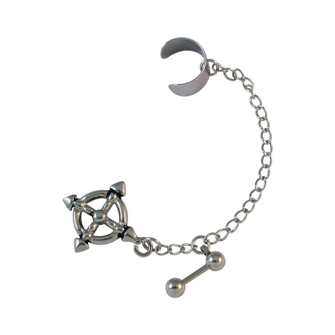 f9b786cd6f6a1 Ship wheel single chain ear cuff for men - silver