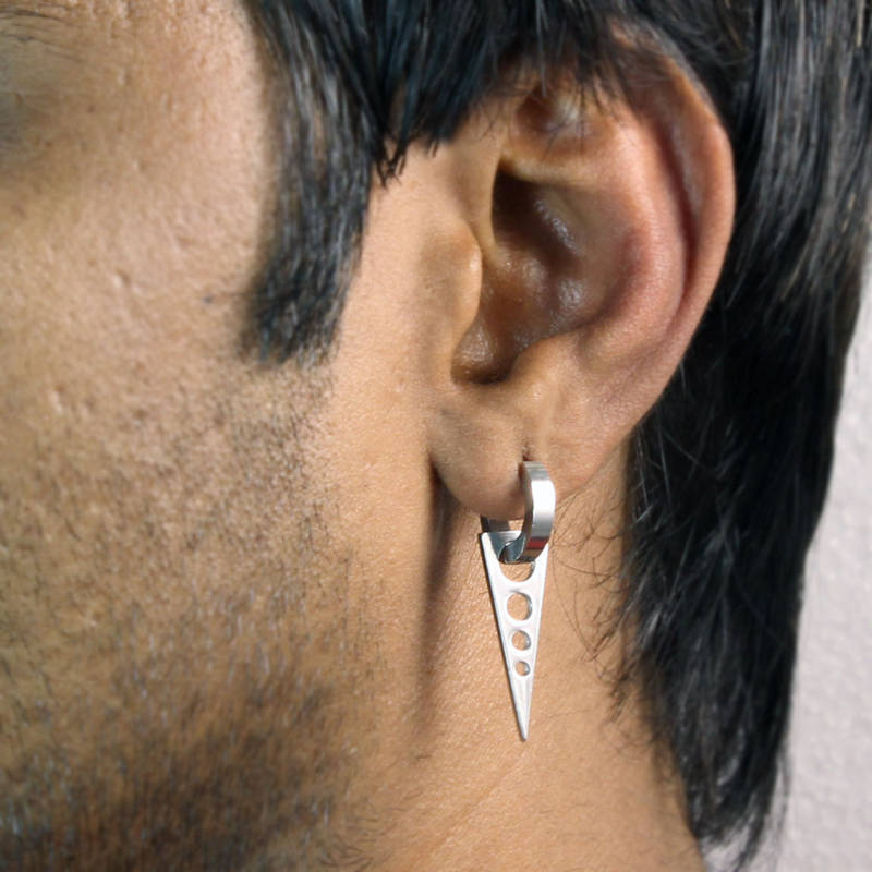 Dangling Triangle With Circles Single Hoop Earring For Men Silver