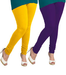 Buy yellow and wine leggings( pack of 2) plus-size-legging online