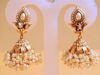 elegant pearl jhumki