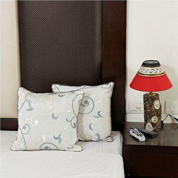 Alice Blue Dupion Silk Decorative Cushion Cover set