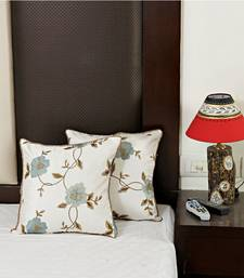 Buy Pure White Dupion Silk Cushion Cover set pillow-cover online