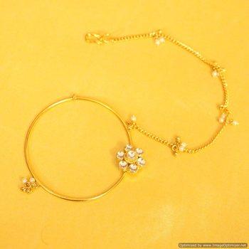 Kundan & Pearl Nose Ring