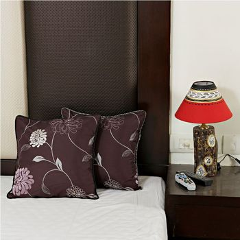 Violet Maroon Pure and Tusser Silk Cushion Cover set