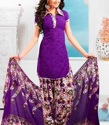 Buy Purple printed Crepe unstitched salwar with dupatta dress-material online