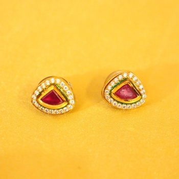 Ruby Kundan Meenakari Diamond Look Studs
