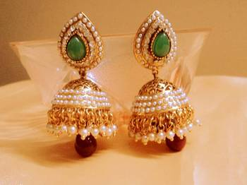 green red elegant jhumki