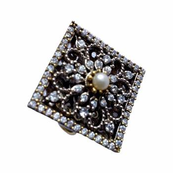 Elegant Pearl Studded Square Cubic Zircon Adjustable Ring