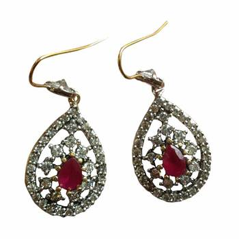 Studded Red colored stone Earring