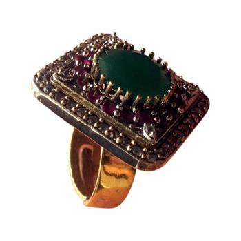 Emerald Green and Ruby Red Stoned Ring