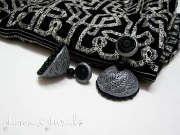 Silver and Black Jhumka