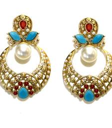 Buy Turquoise & Red Stones Cutwork Drops danglers-drop online