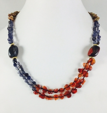 Hand Made wedding Necklace made with semi-precious stones - Picture jasper , Tiger stone and Carnellian stones .