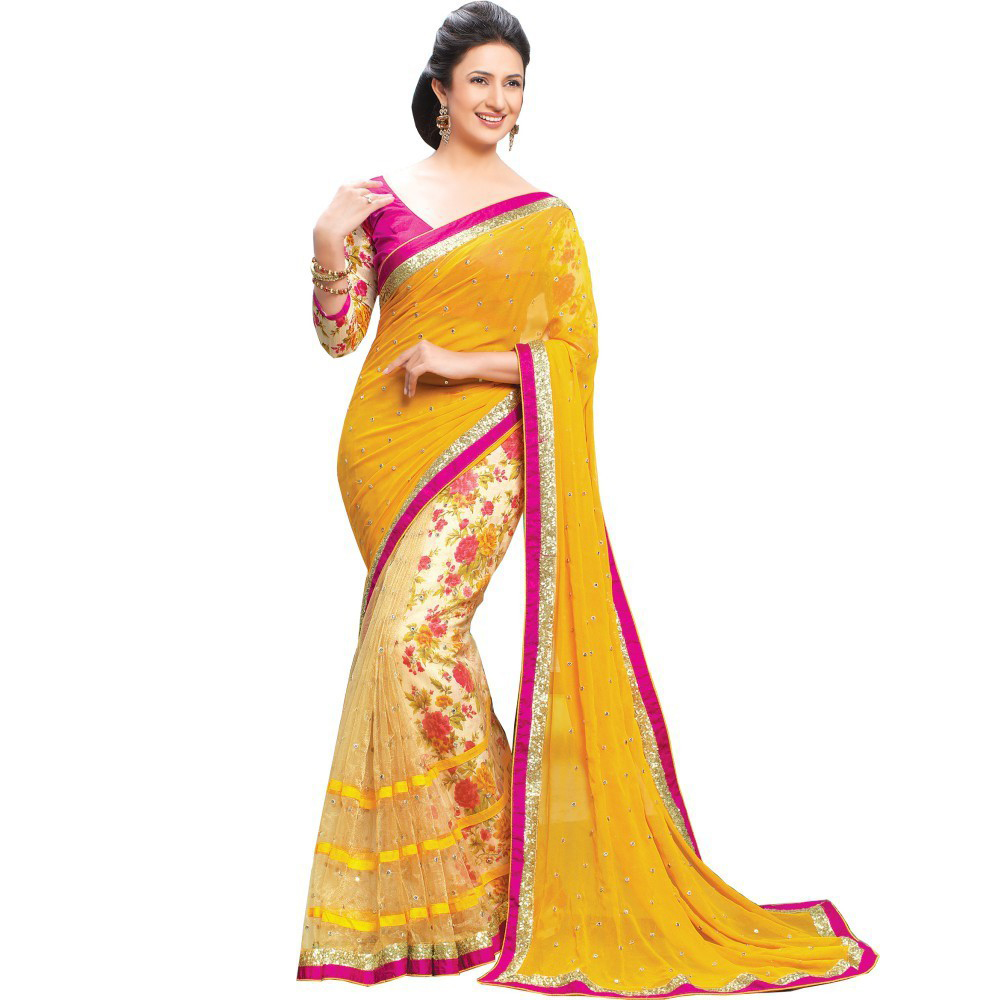 85f5a813b678a Yellow embroidered georgette saree with blouse - Sant Fashion - 619771