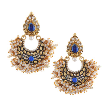 Ethnic Indian Bollywood Fashion Jewelry Set Chandni Pearl Earrings