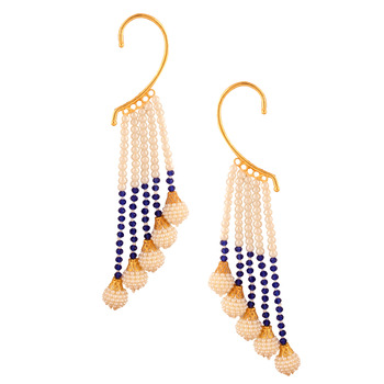 Ethnic Indian Bollywood Fashion Jewelry Set Pearl Cuff Earrings