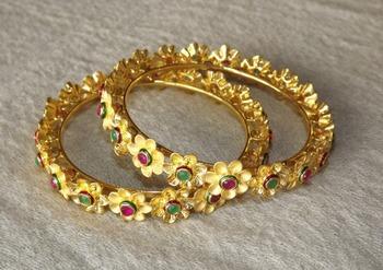 Flower Gold Bangles