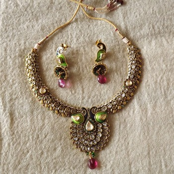 Antique Gold Peacock Necklace Set