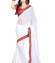 Buy white plain chiffon saree with blouse party-wear-saree online