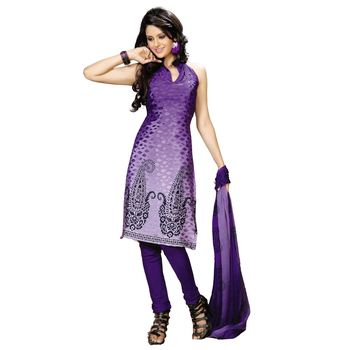 Fabdeal Blue Colored Crepe Jacquard Party Wear Printed Dress Material